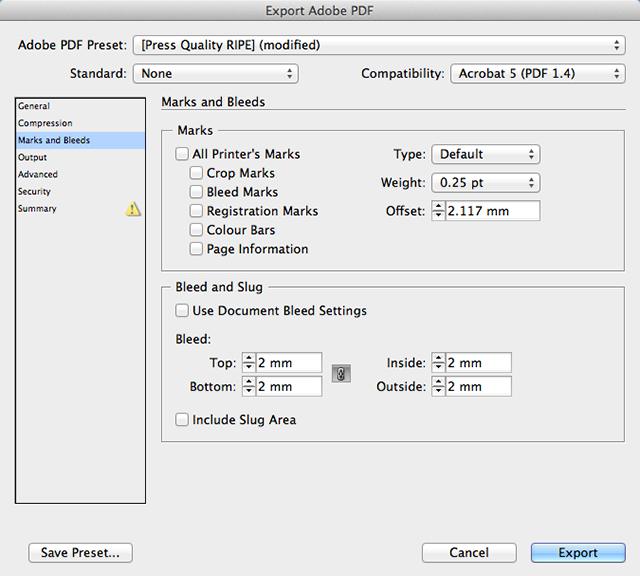 Indesign Export Adobe PDF Bleed settings